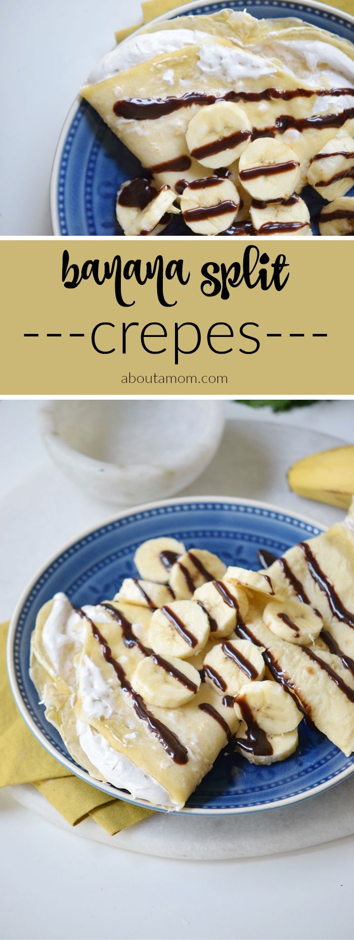 Treat yourself to some banana split crepes. Delicate crepes with a sweet cream filling, bananas and chocolate.