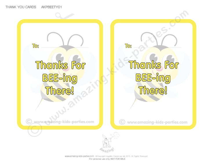 FREE Bee Party Thank You Cards