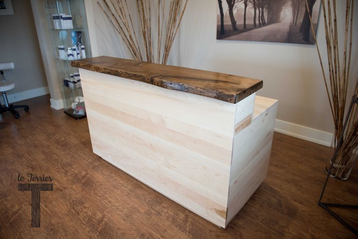 Le Terrier - Reception Desk in maple and live edge walnut @ Privé Spa Orleans ON