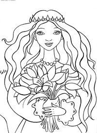 Букет для принцессы - скачать и распечатать раскраску. Раскраска Раскраски для девочек с принцессами, веселая красивая принцесса, распущенные волосы, корона обруч