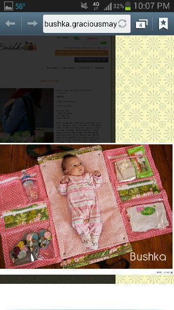 Diy diaper bag/changing mat; looks practical and easy enough to put together. Pic only; no directions.