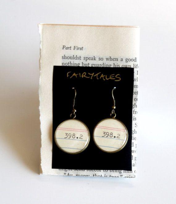 Dewey Decimal System EARRINGS Fairy Tales 398.2 by HarrysSuitcase