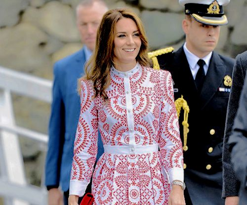The Duchess of Cambridge arrives to Vancouver in an Alexander McQueen dress for day two of the royal tour of Canada.