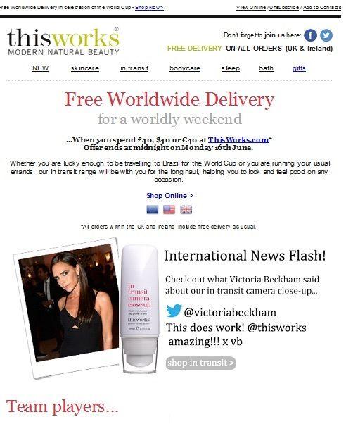 SUB ✈ Enjoy Free Worldwide Delivery this weekend  l'iconcina nella SUB rende subito questa banale NL più accattivante!