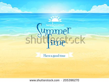 Illustration background with ocean and beach - stock vector