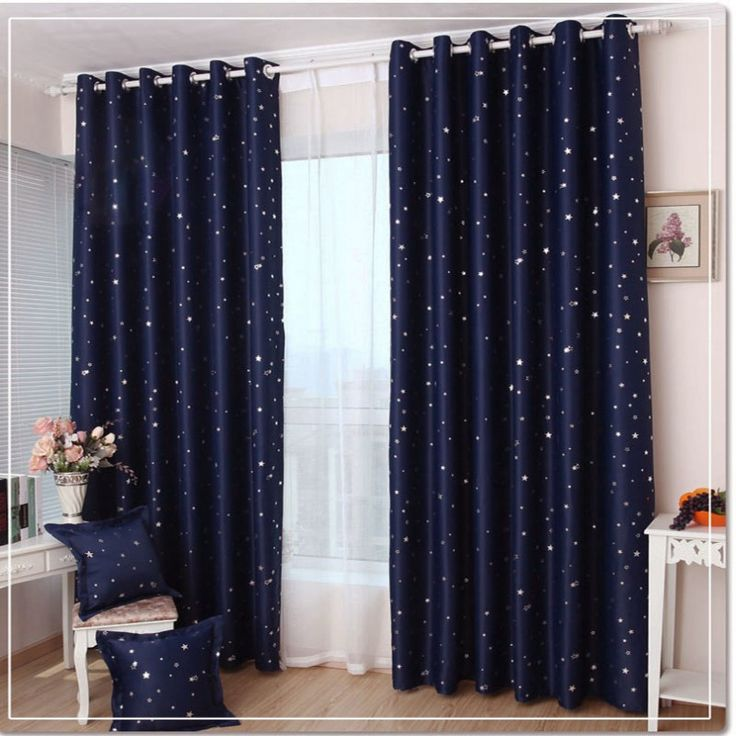 IKEA Style Dark Blue Gypsophila Light Barrier Curtain