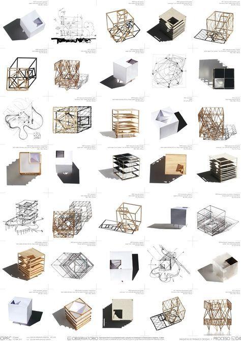 Selezione di modelli, schizzi e diagrammi, sotto forma di tavola.
