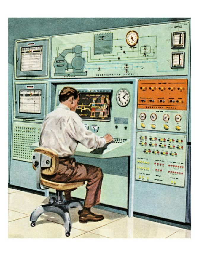 Man at Old Computer Art Print by Pop Ink - CSA Images at Art.co.uk