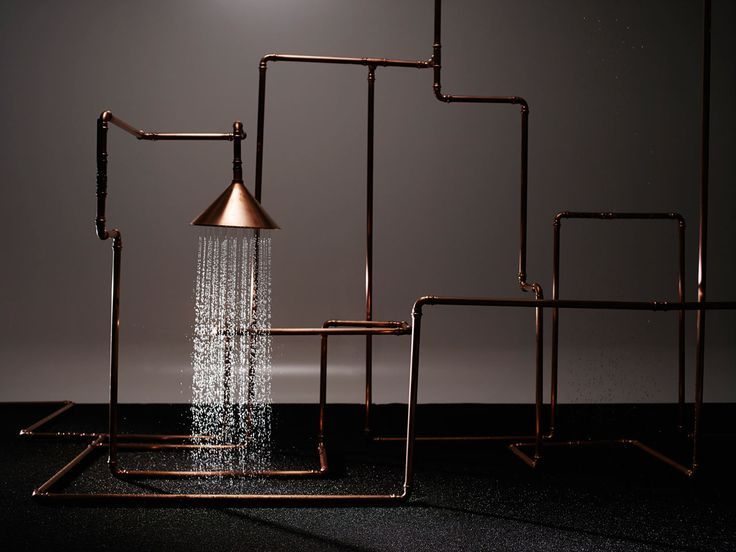 We love these copper bath fixtures from Hansgrophe's Axor WaterDream series. Front, headed by Sofia Lagerkvist, Charlotte von der Lancken, and Anna Lindgren, created a massive copper structure that allows users to experience the path that water takes that's normally hidden from view. Bringing a sense of simplicity using only pipes, valves, couplings, and funnels, the trio kept with their Scandinavian design roots.