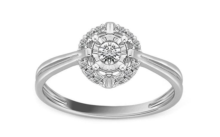 Zásnubní prsten z bílého zlata s diamanty Destinee