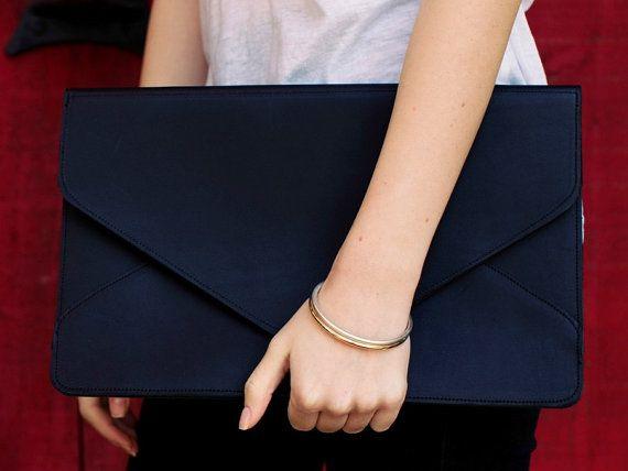 SALE / Leather Envelope Clutch / Black Leather Clutch / Oversize Clutch {Telegram Clutch : Black} on Etsy, $89.00