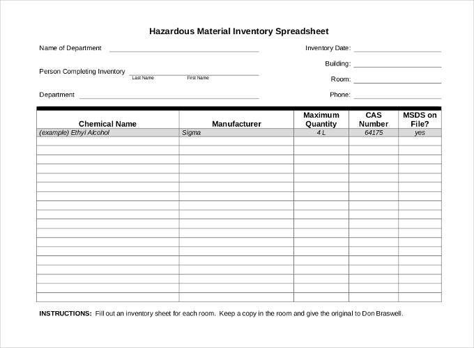 10 Inventory Sheet Templates Templates Spreadsheet