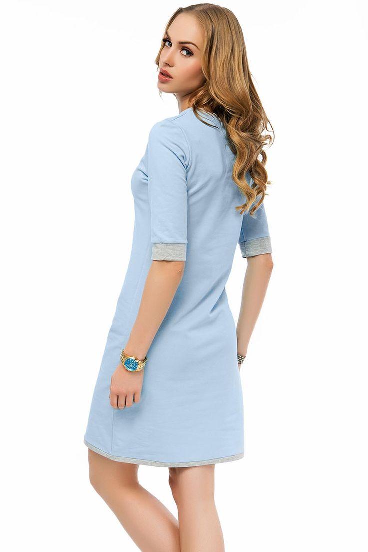 Świetna sukienka damska w modnym zestawieniu kolorystycznym.  - prosty fason - dekolt półokrągły  - rękaw do łokcia - dekolt, dół oraz rękawy wykończone kontrastową wstawką - sukienka rewelacyjnie prezentuje się na sylwetce - wykonana z przyjemnego w dotyku, dresowego materiału  - idealna propozycja na co dzień #modadamska #sukienkiletnie #sukienka  #allettante.pl