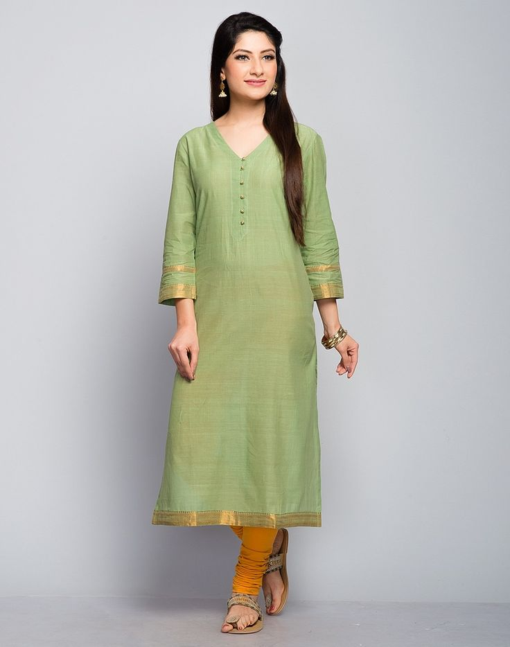 Cotton Mangalgiri Zari Border Long Kurta
