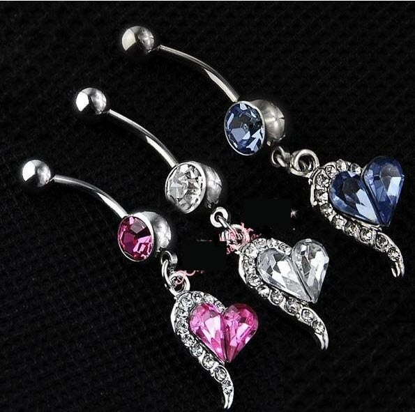 Rhinestones Heart Dangle Belly Button Navel Rings Body Piercing Jewelry