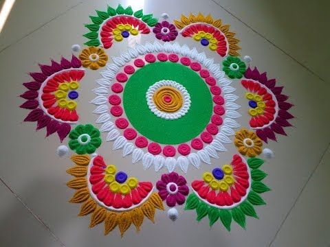 How to make easy and simple/unique Beauti rangoli designs by Jyoti Rathod,rangoli,festival rangoli - YouTube