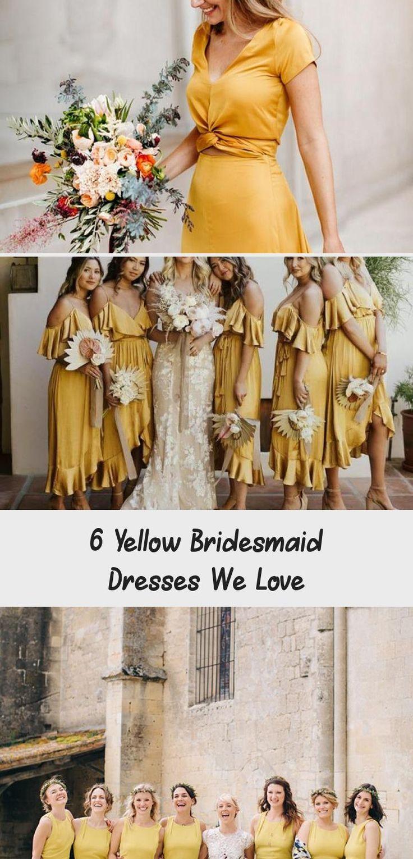 6 Yellow Bridesmaid Dresses We Love - Tremaine Ranch #BridesmaidDressesPlusSize #GoldBridesmaidDresses #BridesmaidDressesHijab #NeutralBridesmaidDresses #BlushBridesmaidDresses