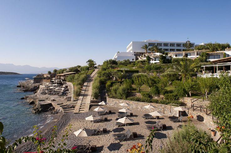 The private beach of Sensimar Minos Palace in Agios Nikolaos of Crete