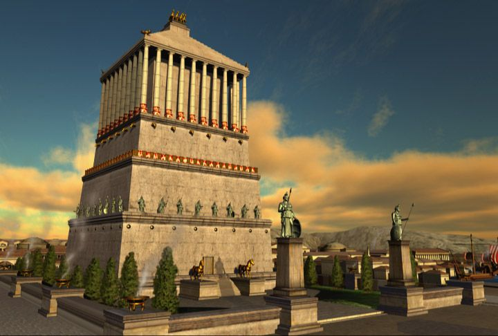 One of the Seven Wonders of the World...The Mausoleum at Halicarnassus or Tomb of Mausolus was a tomb built between 353 and 350 BC at Halicarnassus for Mausolus, a satrap in the Persian Empire, and Artemisia II of Caria, who was both his wife and his sister.