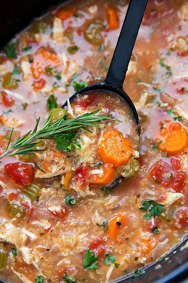 Easy Crockpot Italian Chicken and Quinoa Soup