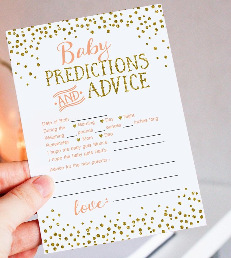 Baby Predictions And Advice Card Printable   Peach And Gold Glitter Baby  Shower Game   Instant