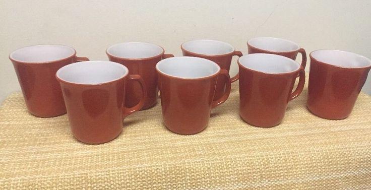 8 Corelle Corning Pyrex Cinnamon Chestnut Rust Burnt Orange Coffee Tea Mugs Cups #Corning #CorningWare