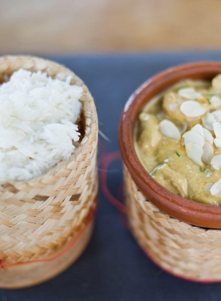 Klebreis mit Kokos-Curry-Mangosauce - Scharf, fruchtig, cremig - und einfach lecker!