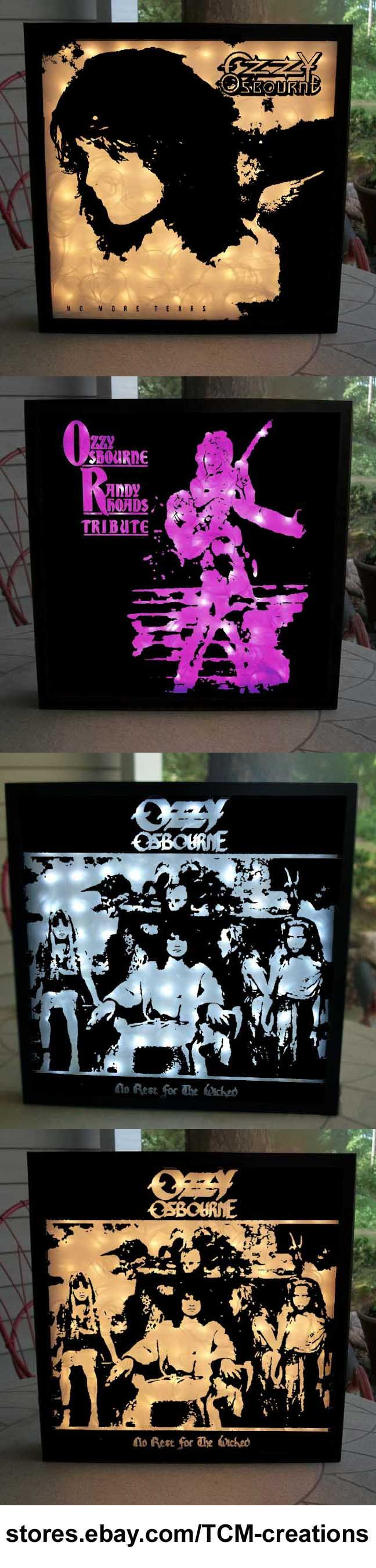 Ozzy Osbourne Shadow Boxes with LED lighting. Blizzard Of Ozz, Diary Of A Madman, Speak Of The Devil, Bark At The Moon, The Ultimate Sin, No Rest For The Wicked, No More Tears, Ozzmosis, Black Sabbath, Randy Rhoads, Jake E Lee, Zakk Wylde