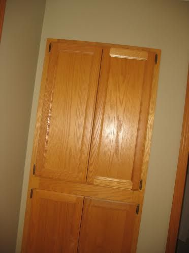 The linen closet before remodeling.