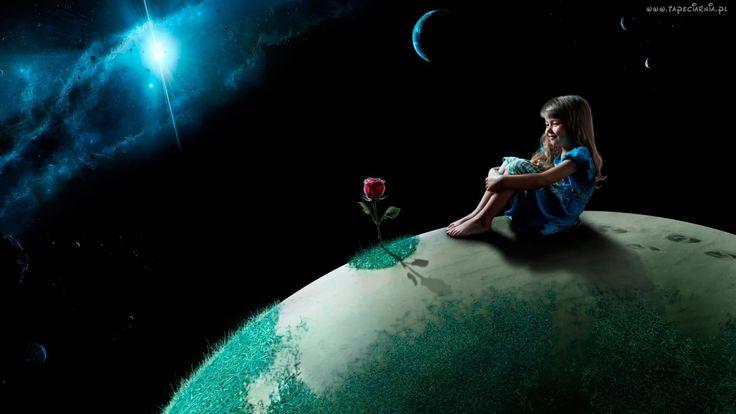 Fantasy, Kosmos, Planety, Dziewczynka, Róża
