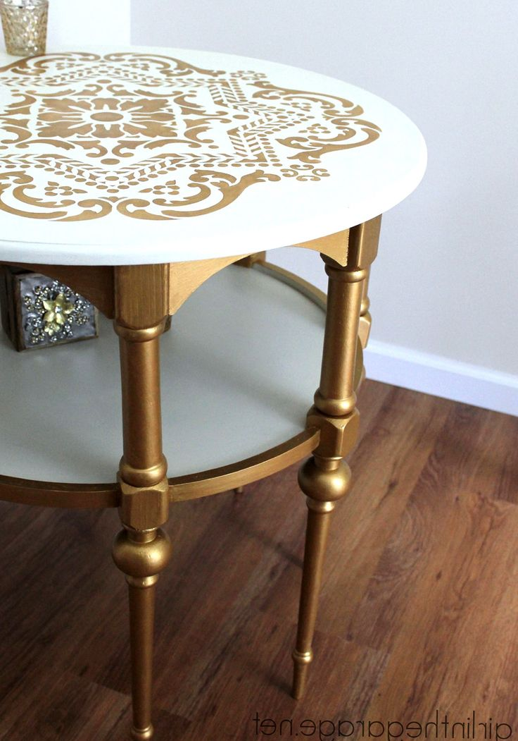 white and gold side table living room design modern - Side Tables For Living Room