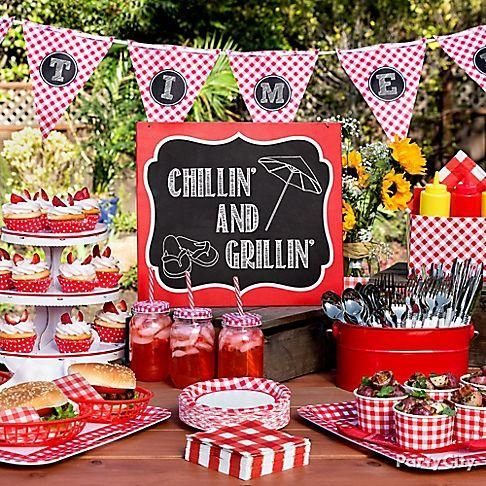 Fire up your picnics & BBQ s with a cool chalkboard sign, pennant banner, & more gingham printed party supplies!