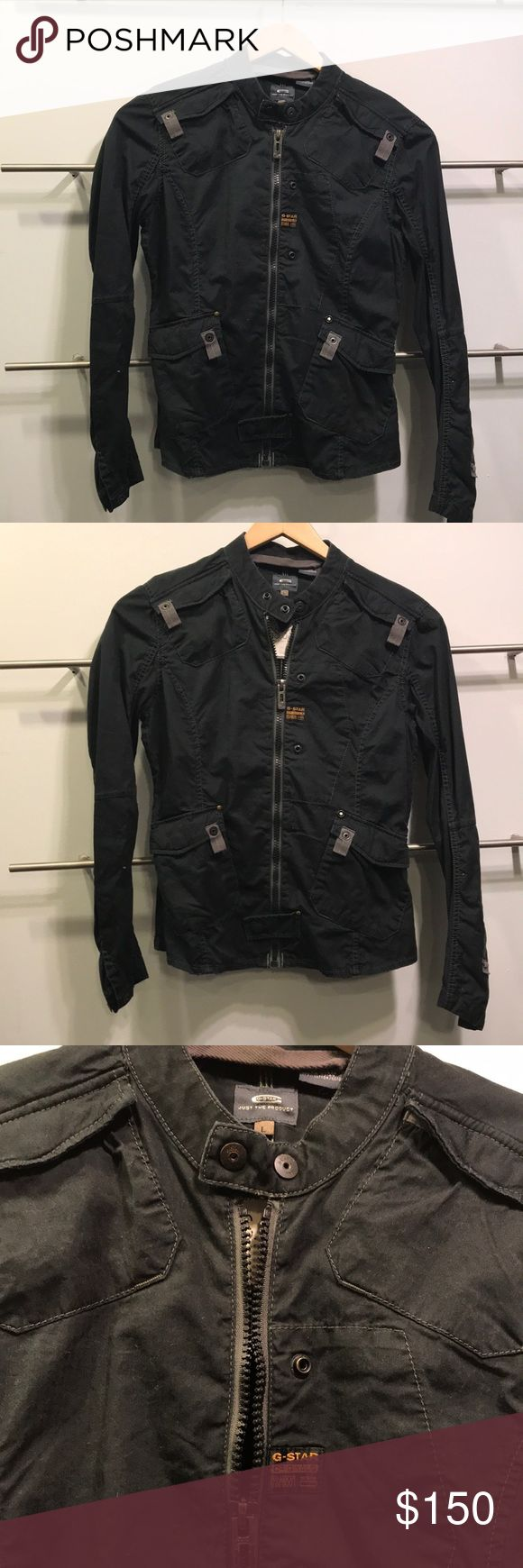 G STAR RAW MOTORCYCLE JACKET LARGE This is a amazing G STAR RAW ORIGINALS motorcycle jacket size large. It is 100% cotton. Black in color and has been used 3 Times. It has snaps all over to give it that motorcycle feel along with mandarin snap collar. G STAR RAW Jackets & Coats Utility Jackets