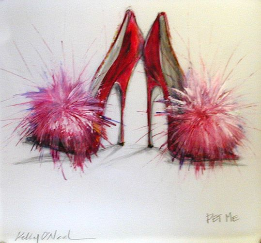 Kelly O'Neal red pumps with feathers illustration