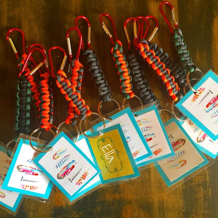 Whimsical feather theme for girl rock climbing party. Laminated name tag on paracord clip. Works for girls and boys. Unisex party favor