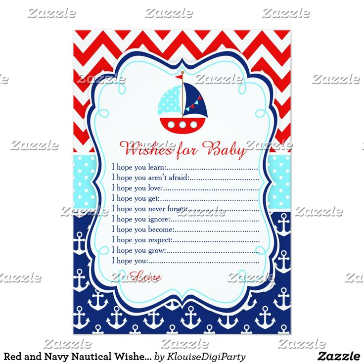 Red and Navy Nautical Wishes for Baby Advice Card