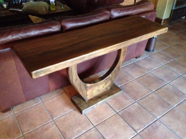 Custom contemporary reclaimed wood console by Peter Thomas Designs in  Phoenix, AZ. Custom handcrafted