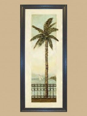 Title: Cayman Palm II ~~ Artist: Charlene Olson ~ Subject: Tropical palm tree and wrought iron railing along a Mediterranean river walk  Print Type: Lithograph  ~ Print Size: 8″ Wide x 20″ Tall  ~~~ Overall Framed Art Size: 9-9/16″ Wide x 21-9/16″ Tall ~~~~~ Frame Style: Simple Black.   Our Picture Frames and Framed Art are all Hand made.