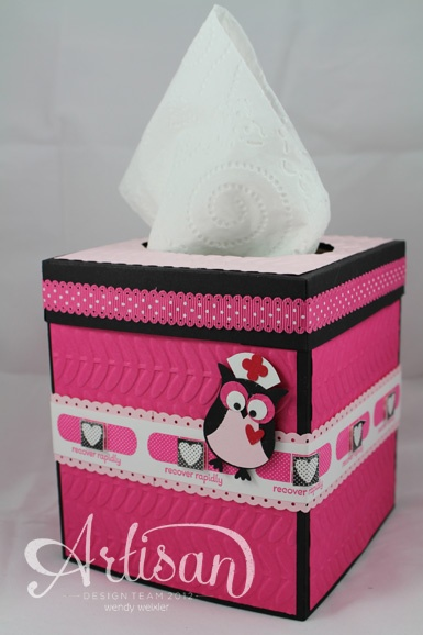 Tissue box cover. Youtube tutorial to make a tissue box cover is here http://www.youtube.com/watch?feature=player_embedded=k60I-Hoj9ZM