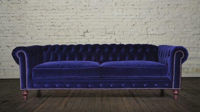Samt Sleeper Sofa Vintage Sofa Kleines Schlafsofa Blaues Samtsofa