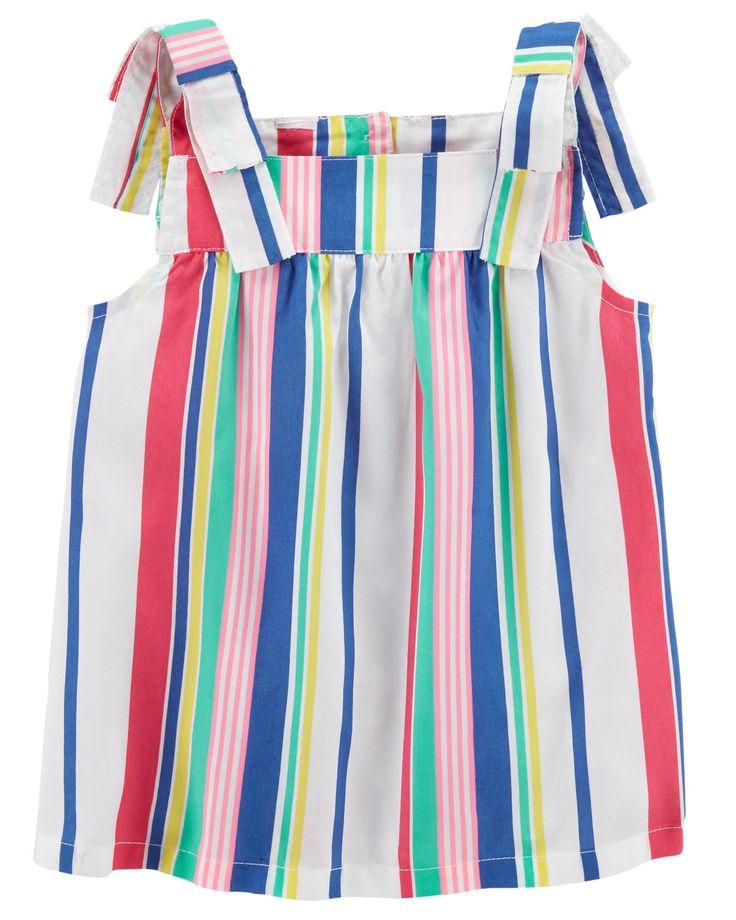 Baby Girl Striped Tie Shoulder Tank Top | Carters.com