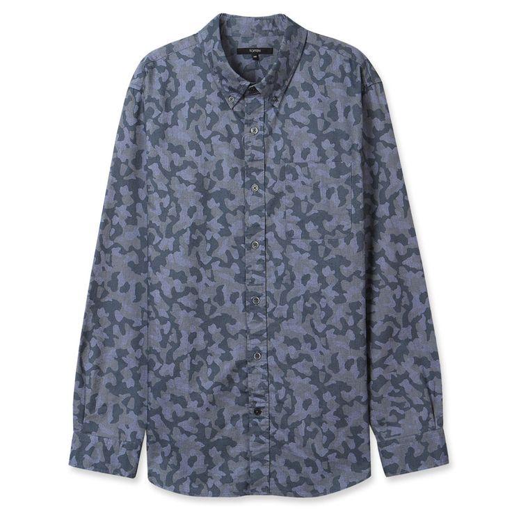Topten10 Unisex Oxford Buttondown Military Army Camouflage Cotton Dress Shirts #Topten10