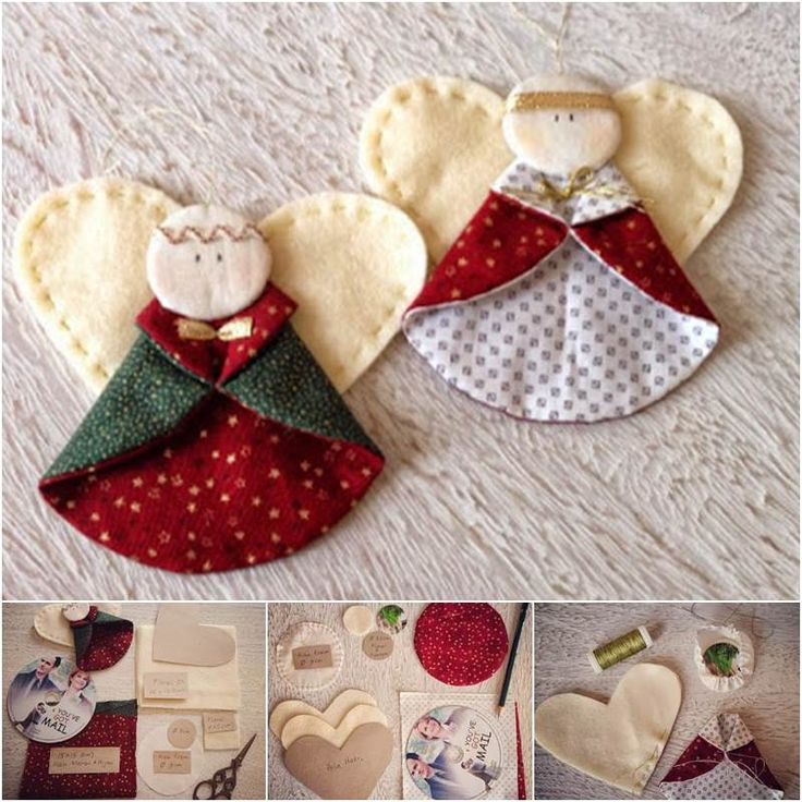 Creative Ideas - DIY Fabric Angel Christmas Ornaments | iCreativeIdeas.com Follow Us on Facebook --> https://www.facebook.com/iCreativeIdeas