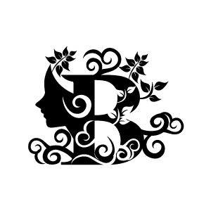 Flower Clipart - Black Alphabet B with White Background | Download Free Flower Clipart, Designs, Gallery, Web Arts, Graphics, Images and Vector