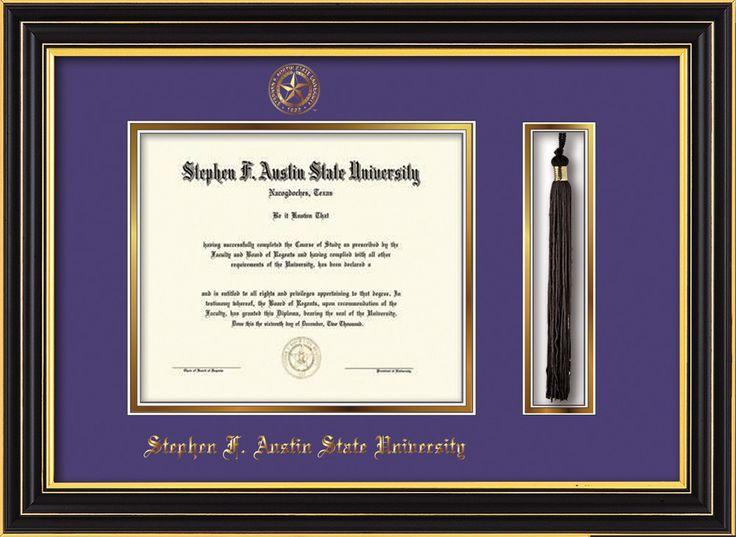 Stephen F. Austin Diploma Frame - Satin Black - Tassel - Purple/Gold – Professional Framing Company