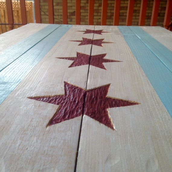 Wood Chicago Flag by JScottBrowneDesigns on Etsy