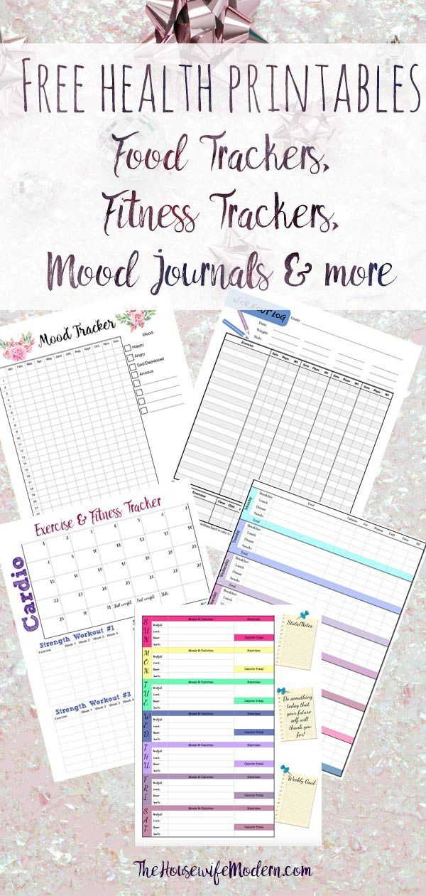 Health Printables Food Tracker Exercise Logs Mood Trackers More Food Tracker Fitness Journal Printable Food Journal Printable