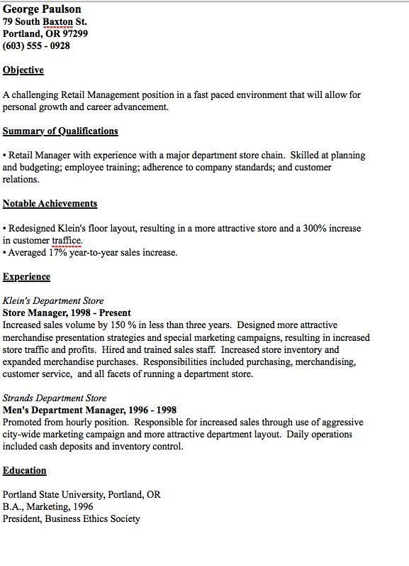 Mer enn 25 bra ideer om Retail manager på Pinterest Informatikk - sample resumes for retail