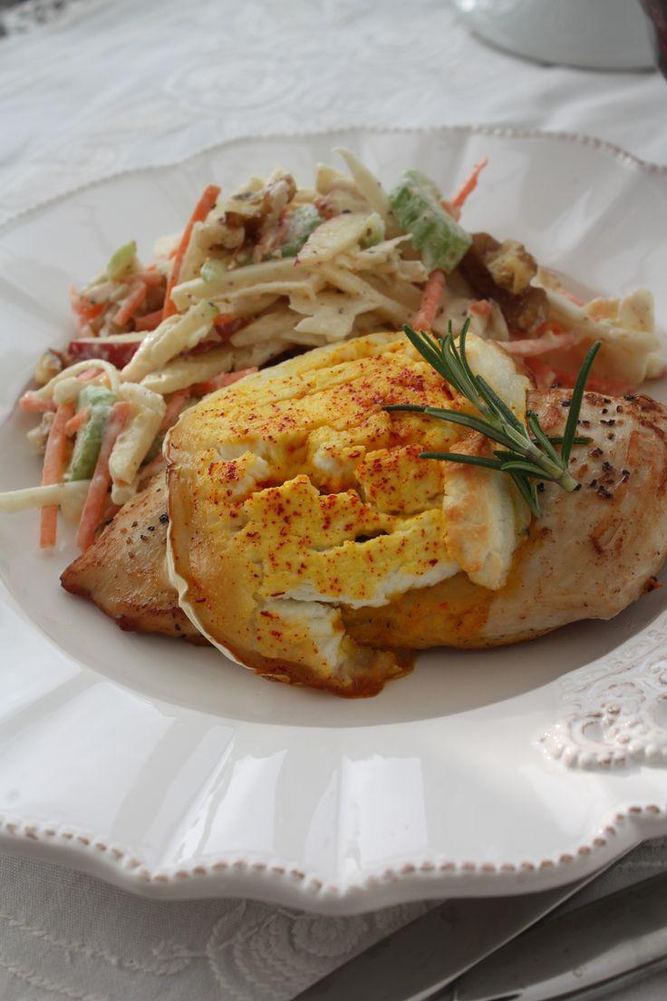 Kyckling med chevre o saffran