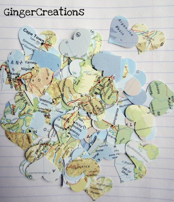 Map Heart Confetti
